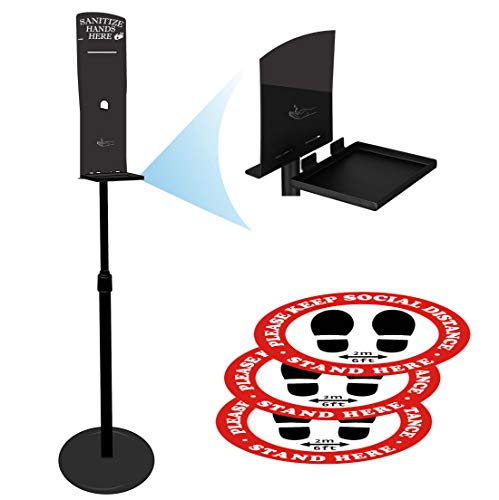 Universal Sanitizer Stand/Portable Floor Stand/Station (Black) Compatible with all Wall Dispensers - Removable Drip Plate and Waterproof Floor Stickers : Beauty