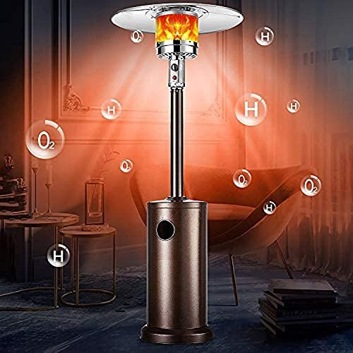SOARRUCY Outdoor Patio Heater Propane Heater - Tall Standing Hammered Finish Garden Outdoor Heater Propane Standing LP 48, 000BTU CSA Certified Gas Steel w/Heater Cover Pulley Accessories, Bronze : Garden & Outdoor