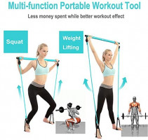 Wastou Pilates Bar, Portable Pilates Bar Kit with Adjustable Resistance Band for Different Height, Home Gym Exercise Stick Yoga Bar with Foot Loop for Hipsline, Stretching, Muscle Toning (Turquoise) : Sports & Outdoors