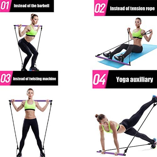 Pilates Bar Kit with Resistance Band, Portable Home Gym Workout Package, Resistance Band and Toning Bar Yoga Pilates Stick Yoga Exercise Bar with Foot Loop for Total Body Workout (Purple) : Sports & Outdoors