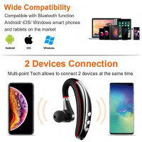Bluetooth Headset,Wireless v5.0 Business Bluetooth Earpiece in Ear Lightweight Sweatproof Earphones with Mic Work for Cell Phones for Office/Workout/Driving: Electronics