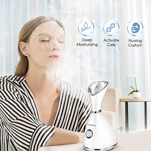 Facial Steamer, JOMARTO Nano Ionic Facial Steamer, Home Humidifier Personal Vaporizer, Portable Home Skin Spa Steamers, Warm Mist for Moisturizing and Blackheads Acne Skin Care, Ideal Gift: Beauty