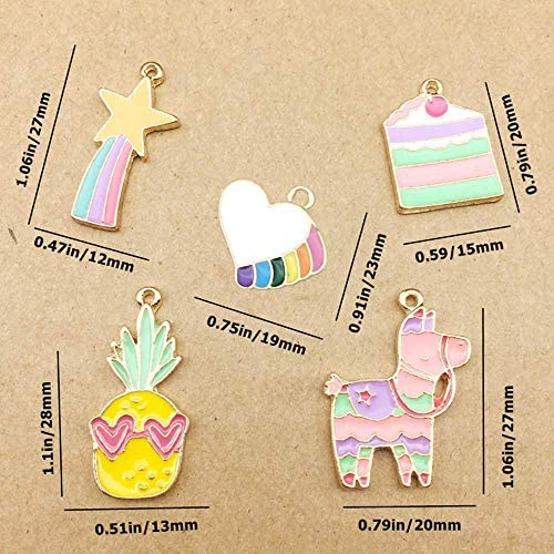 20 Pcs Cute Meteor Love Pineapple Horse Cake Charm Pendant Enamel Sequins Dangle Gold Plated Dainty Ornament for Necklace Bracelet Ankle Earring Jewelry DIY Making
