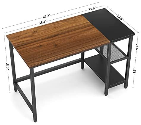 CubiCubi Computer Home Office Desk, 47 Inch Small Desk Study Writing Table with Storage Shelves, Modern Simple PC Desk with Splice Board, Espresso and Black: Kitchen & Dining