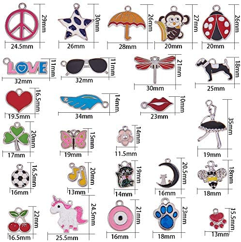 SUNNYCLUE 1 Box 30 Styles 30Pcs Assorted Enamel Charms Silver Plated Alloy Unicorn Animals Heart Flower Jewelry Charm Pendants with Hole for DIY Jewelry Necklace Bracelet Ankle Earring Making