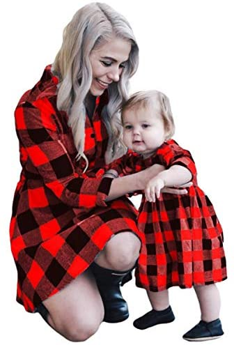 Mommy and Me Outfits Plaid Christmas Dresses Matching Set for Mom and Daughter: Clothing