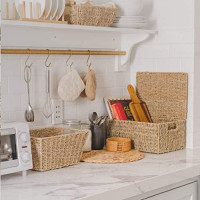 Artera Rectangular Wicker Storage Basket with Lid and Insert Handles, Decorative and Functional Nesting Basket Set, Storage Baskets for Organizing Bedroom, Bathroom, Laundry Room or Kitchen (Set of 4): Home & Kitchen