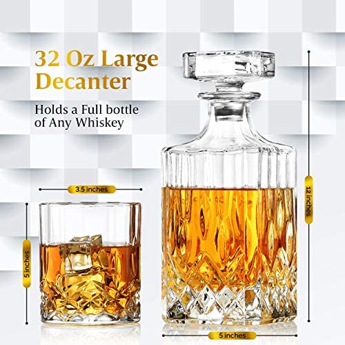 Billionth Barrel Crystal Glass Whiskey Decanter Set for Men – 950ml with 4 x Heavy Duty Glasses – Handcrafted Unique Design – Airtight Stopper, Lead-free – for Scotch, Whisky, Bourbon, Liquor: Liquor Decanters