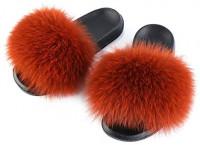 SUMMER RAIN Fur Slippers Slides for Women Girls Open Toe Real Fox Fur Slippers Fluffy House Slides Shoes Sandals Outdoor Indoor | Slippers