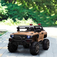 Aosom 12V Kids Electric 2-Seater Ride On Police Car SUV Truck Toy with Parental Remote Control, Yellow: Toys & Games
