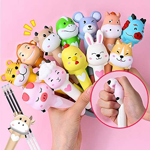 LemoHome Cute Cartoon Gel Ink Pen Decompression Twelve Zodiac Pen Set Cute Sponge Pens for Students Kids with Replacement Refills Black Ink,12PCS/Box: Office Products