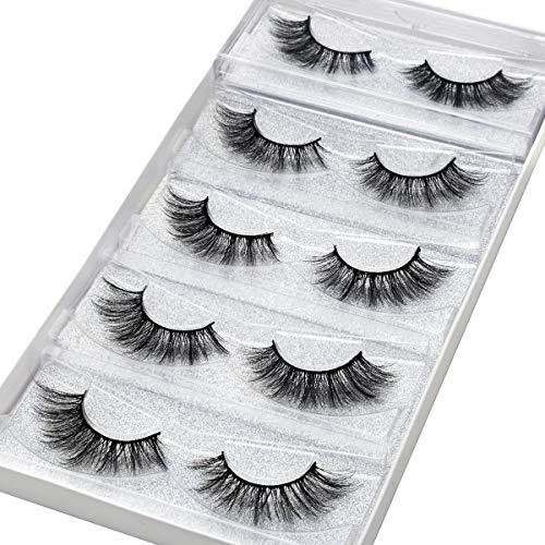 DYSILK 5 Pairs 6D Mink Eyelashes Faux Natural Wispy Handmade False Eyelashes Cross Fluffy Long Fake Eyelashes Reusable Soft Extension Makeup Lashes 002-13mm : Beauty
