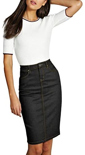 Lexi Womens Super Comfy Perfect Fit Stretch Denim Skirt at Women's Clothing store