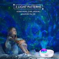 Night Light Projector 3 in 1 Galaxy Projector, Merece Star Lights Space Projector with 5 White Noises, Bluetooth Music Speaker, Remote Control, Ocean Wave Projector for Bedroom/Home Theater/Decor: Electronics