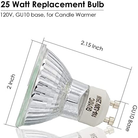 25 Watt Replacement Bulb for Candle Warmer, 6 Packs Scentsy Bulbs, NP5 Replacement Bulbs, GU10 Halogen Light Bulbs, Dimmable - MR16 Light Bulb with Glass Cover, 120 Volt (Warm White): Home Improvement