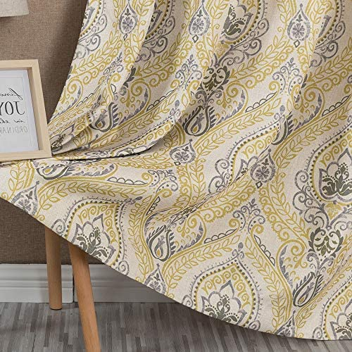Damask Printed Curtains for Bedroom Drapes Vintage Linen Textured Medallion Curtain Panels Window Treatments Room Darkening for Living Room Patio Door 1 Pair 63 Inches Long Yellow: Kitchen & Dining