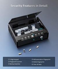 ONNAIS Gun Safe - Biometric Gun Safe for Pistols, Quick-Access Handgun Safe Firearm Safety Device with Fingerprint Lock or Key Pad, Smart Pistol Safe Gun Lock Box for Home Bedside Nightstand Car : Sports & Outdoors