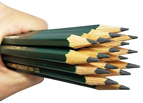 Faber-Castell pencils, Castell 9000 graphite pencils, 8B Pre-sharpened Black lead pencils for sketch, shading, drawing, artist - box of 12 (8B)