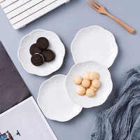 Jusalpha Embossed Lace Ceramic Plate-Dinner Plate Set, Pasta/Salad/Dessert Plate Dishwasher MicrowaveTableware Set for Restaurant Family Party Kitchen Use -4 Pieces, FD-PL15 (6 Inche, White): Salad Plates