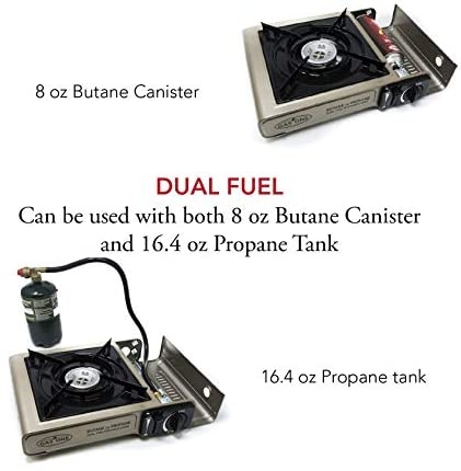 Gas ONE Propane or Butane Stove GS-3400P Dual Fuel Portable Camping and Backpacking Gas Stove Burner with Carrying Case Great for Emergency Preparedness Kit (Gold): Sports & Outdoors