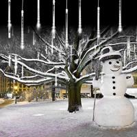 Meteor Shower Falling Rain Lights Christmas Lights 8 Tubes 192 LED Icicle Snow Falling Christmas Lights Outdoor Raindrop Lights, Xmas Wedding Party Tree Holiday Decoration Blue: Home Improvement