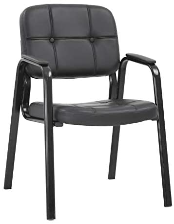 Guest Chair Reception Chairs Conference Chairs Stack Meeting Chair with Arm Lumbar Support Cushion Seat PU Leather Office Chair Without Wheels for Waiting Room(Black): Furniture & Decor