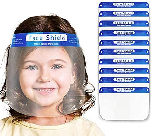CQ Essentials | Kids Anti-Fog Face Protective | Protective Corrosion-Resistant Lens, Lightweight Transparent Safety Covering with Elastic Band | For Children - Face Shield (1, Blue)