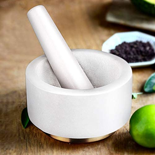 X-cosrack Mortar and Pestle Set, Marble Pestle and Mortar Bowl with Copper Base and Anti-Scratch Pad, Solid Stone Grinder for Herbs Spice Guacamole Garlic Ginger Root, 5.5 Inch (White): Kitchen & Dining