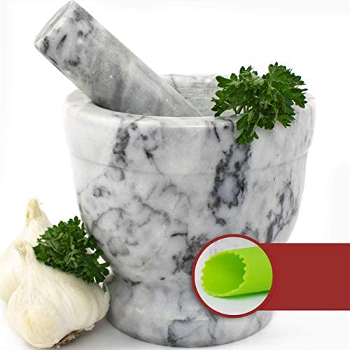 Mortar and Pestle Set - Polished White and Grey Marble Bowl with Bonus Garlic Peeler | Great for Guacamole! | 1.5 Cup Capacity. Protective Pad for Stability and Protected Counters: Kitchen & Dining