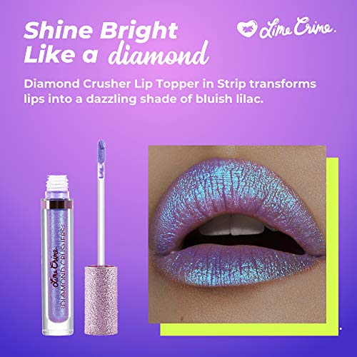 Lime Crime Diamond Crushers Iridescent Liquid Lip Topper, Trip - Light Purple - Strawberry Scent - Enhances Mattes - For Face And Body - Wear Alone Or Over Lipstick - Vegan : Beauty