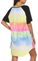 Ekouaer Nightgowns Short Sleeve Raglan Sleepshirts Casual Nightshirt Lounge Dress Boyfriend Style Sleepwear for Women at Women's Clothing store