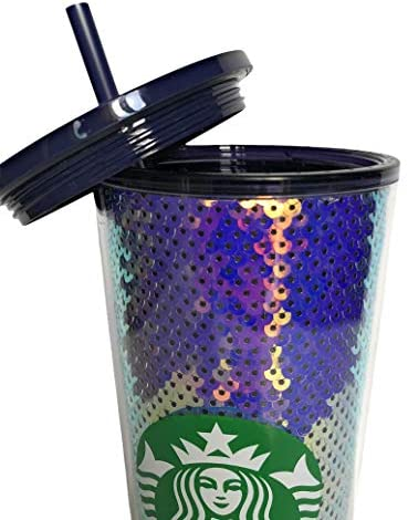 Purple Sequin Glitter Cold Cup Tumbler Holiday 2020 - 24oz.: Tumblers & Water Glasses