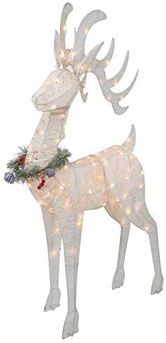 "Top Treasures 3 Piece Reindeer Family | Lighted Deer Set | 210 Lights 52"" Buck 44"" Doe 28"" Fawn | Large Deer Family for Indoor or Outdoor Christmas Decorations Yard Art (White): Garden & Outdoor"