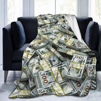 """NiYoung Luxurious Soft Flannel Fleece Blanket for Couch Bed Sofa, Warm Cozy Throw Blanket for All Seasons (Money American Bill Dollars, 80""""x60""""): Home & Kitchen"""