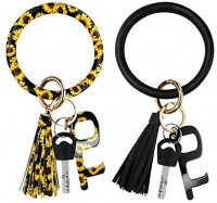 2pcs Leather-Keychain Wristlet Ring Bracelets Round with No Touch Door Opener, Cute Circle Key chains Rings Bangles Car Holder with Touchless Keys for Women Girls (Black+Sunflower): Shoes