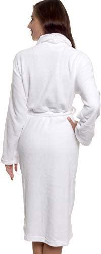 Womens Bathrobe Plush Wrap Kimono Loungewear Gown by Silver Lilly at Women's Clothing store
