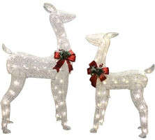 Joiedomi 2 Packs Christmas Reindeers, Doe, Fawn LED Yard Lights for Christmas Outdoor Yard Garden Decorations, Christmas Event Decoration, Christmas Eve Night Decor