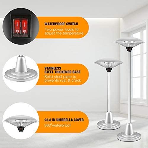 Antarctic Star Patio Heater Electric Heater, freestanding Umbrella-Shaped Waterproof Heater Outdoor Infrared Heater for Overheat Protection & Overheat Protection, Garage, Garden, Courtyard, 750W/1500W : Garden & Outdoor