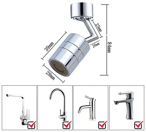 Faucet Aerator, 720° Rotatable Faucet Sprayer Head, Eye Wash Station Faucet Aerator, Universal Splash Filter Faucet, Leakproof Design with Double O-Ring, Durable Copper & ABS