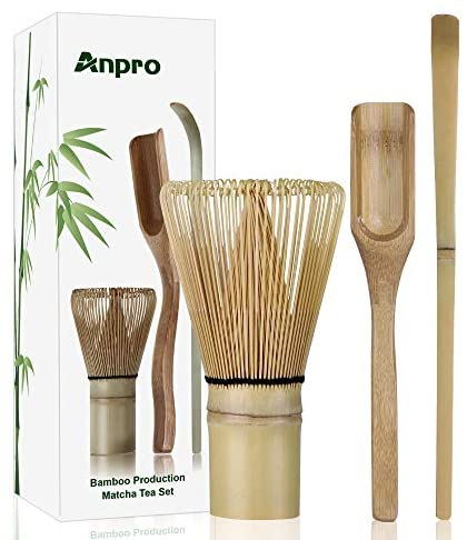 Anpro Bamboo Matcha Tea Whisk set, Scoop and Small Spoon, The Perfect Set to Prepare a Traditional Cup of Matcha: Kitchen & Dining