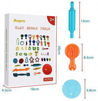 Anpro 47pcs Clay Dough Tools for Kids, Dough plasticine Tool Dough Includes 47 Colorful Cutters, Molds, Rollers & Play Accessories for Air Dry Clay & Dough: Toys & Games