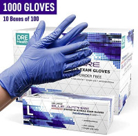 Powder Free Disposable Gloves Large - 1000 Pack - Nitrile and Vinyl Blend Material - Extra Strong, 4 Mil Thick - Latex Free, Blue - Medical Exam Gloves, Cleaning Gloves (10 Boxes of 100): Health & Personal Care