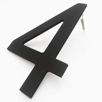 8 Inch High Modern House Numbers - Floating Stainless Steel Home Address Number, Easy to Install, Black Finished, Number 3