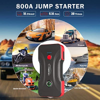 Car Jump Starter, YABER 800A 12800mAh Portable Battery Jump Starter (Up to 6.5L GAS/5.0L Diesel Engines), Compact Battery Booster Pack with Built-in Safety Hammer, LED Light, Compass, QC3.0 USB Output: Automotive