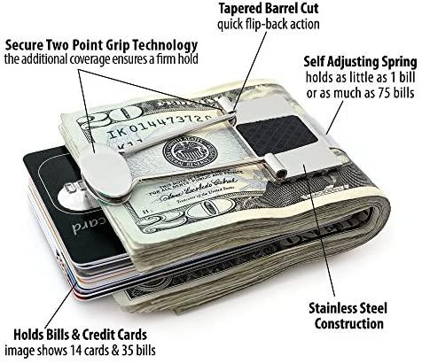 Speidel Men's Money Clip Stainless Steel Metal Black Rubber Inserts