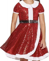 JoJo Siwa Holiday Collection Red Sequin Santa Dress: Clothing