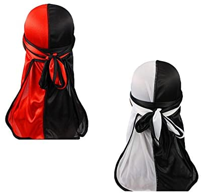Hip-hop Rapper Two Tone Men Silky Durag Cap(2pcs) Long Tail Chemo 360 Waves Du-rag Hat (Red&White&Black) at Men's Clothing store
