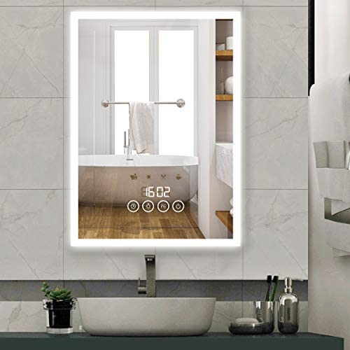 BREADEEP Wall Mounted Vanity Mirror, 28x20 LED Bathroom Mirror with Lights, Touch Control Makeup Mirror with Time Display, 4 Scene Mode: Home & Kitchen