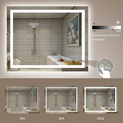UM 20x28 inch LED Lighted Bathroom Mirror, Wall Mounted Bathroom Vanity Mirror, Dimmable Touch Switch Control, CRI>90,6000K Warm White/Natural/Daylight Lights, Horizontal & Vertical (20Wx28H): Home & Kitchen