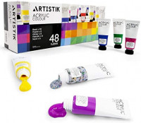 Acrylic Paint Set - 48 Piece Set (48 x 22ml) Tubes in Rich Vibrant Colors - Pigments Formulated for Opaque, Vibrance Perfect for Beginners, Students, Professionals, Artists Painting Different Mediums: Home Improvement